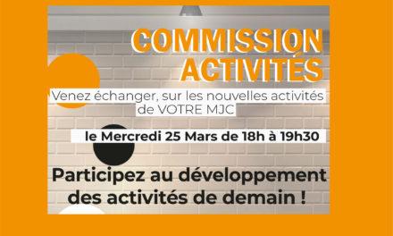 ANNULATION – Commission activités – 25 Mars –