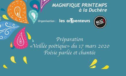 Reportée Veillée poétique – 17 Mars – organisé par les arpenteurs